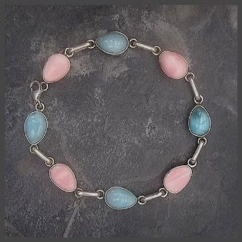 Pear drop Larimar & Pink Conch Bracelet